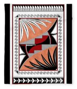 Southwest Collection - Design Three In Red Fleece Blanket