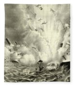 Destruction Of The Us Battleship Maine, 15th February, 1898 Fleece Blanket