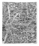 Detail From A Map Of Paris In The Reign Of Henri II Showing The Quartier Des Ecoles Fleece Blanket