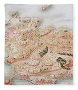 Detail Of A Map Of Rhode Island During French Occupation Fleece Blanket