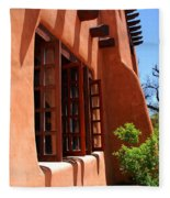 Detail Of A Pueblo Style Architecture In Santa Fe Fleece Blanket