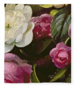 Detail Of Full Blown Roses Fleece Blanket