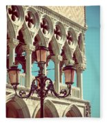 Detail Of Lamp And Columns In Venice. Vertically.  Fleece Blanket