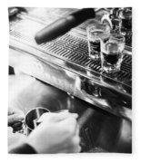 Detail Of Making Espresso Coffee With Machine Bw Fleece Blanket