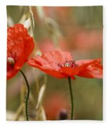 Detail Of The Corn Poppy Fleece Blanket