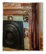 Detail Of Wood Carving And Tiles - Historic Fireplace Fleece Blanket