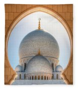 Detail View At Dome Of Sheikh Zayed Grand Mosque, Abu Dhabi, United Arab Emirates Fleece Blanket