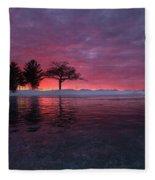 Detroit Point Sunset Off The Ice Fleece Blanket