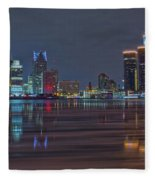 Detroit Skyline From Windsor In Hdr Fleece Blanket