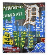 Detroit The Motor City Michigan License Plate Art Collage Fleece Blanket