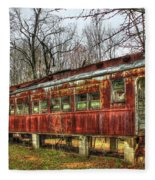 Devastation Railroad Passenger Train Car Fire Art Fleece Blanket