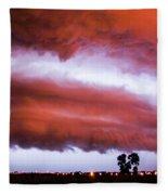 Developing Nebraska Night Shelf Cloud 009 Fleece Blanket