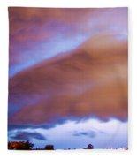 Developing Nebraska Night Shelf Cloud 013 Fleece Blanket