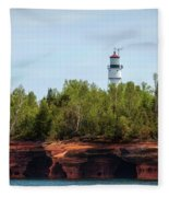 Devils Island Apostle Islands Lighthouse Fleece Blanket