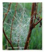 Dew Covered Spider Web Fleece Blanket