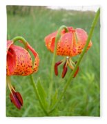 Dew Covered Tiger Lilies Fleece Blanket