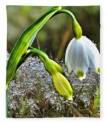 Dew On Lilly Of The Valley Fleece Blanket