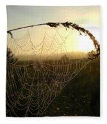 Dew On Spider Web At Sunrise Fleece Blanket