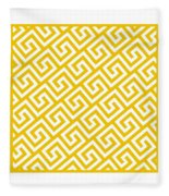 Diagonal Greek Key With Border In Mustard Fleece Blanket