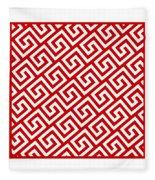 Diagonal Greek Key With Border In Red Fleece Blanket