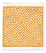 Diagonal Greek Key With Border In Tangerine Fleece Blanket