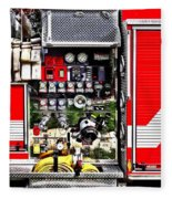 Dials And Hoses On Fire Truck Fleece Blanket