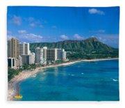 Diamond Head And Waikiki Fleece Blanket