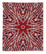 Digital Kaleidoscope Red-white 4 Fleece Blanket