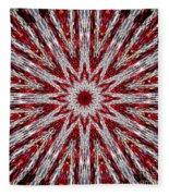 Digital Kaleidoscope Red-white 7 Fleece Blanket