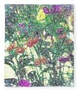 Digital Pencil Sketch Flowers Fleece Blanket
