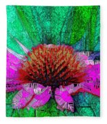 Digital Pink Echinacea  Fleece Blanket