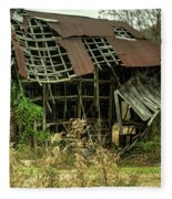 Dilapidated Barn Morgan County Kentucky Fleece Blanket