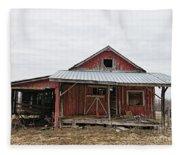 Dilapidated Old Barn Fleece Blanket