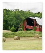 Dilapidated Old Red Barn Fleece Blanket
