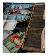 Dinghies At Town Wharf Fleece Blanket