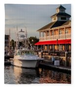 Dining At The Marina Fleece Blanket