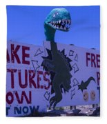 Dinosaur Sign Take Pictures Now Fleece Blanket