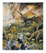 Dinosaurs And Volcanoes Fleece Blanket