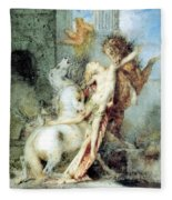 Diomedes Devoured By His Horses Watercolour Gustave Moreau Fleece Blanket