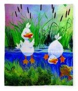 Dipping Duckies - Furry Forest Friends Mural Fleece Blanket