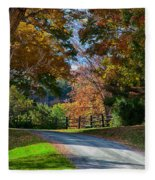 Dirt Road Through Vermont Fall Foliage Fleece Blanket
