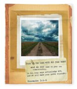 Dirt Road With Scripture Verse Fleece Blanket