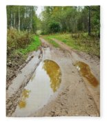 Dirty Autumn Road With Brown Pools After Rain Fleece Blanket