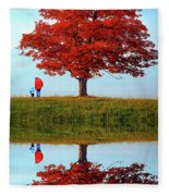 Discovering Autumn - Reflection Fleece Blanket