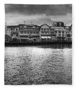Disney World Boardwalk Gazebo Panorama Bw Fleece Blanket