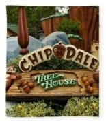 Disneyland Chip And Dale Signage Fleece Blanket
