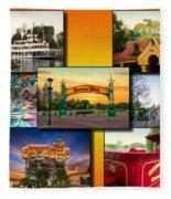 Disneyland Collage 02 Yellow Fleece Blanket