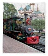 Disneyland Railroad Engine 3 With Castle Fleece Blanket