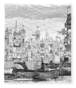 Disneyland Small World Panorama Pa Bw Fleece Blanket
