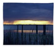 Distant Storms At Sunset Fleece Blanket